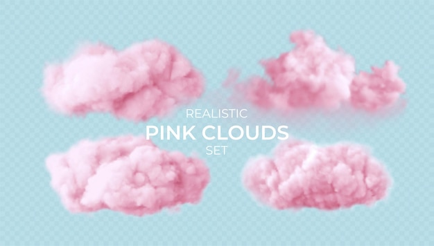 Realistic pink fluffy clouds set isolated on transparent
