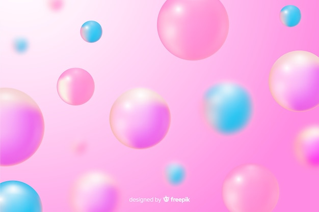 Realistic pink glossy balls background