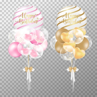 Realistic pink and golden birthday balloons.