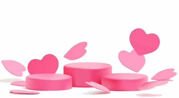 Realistic pink hearts podium for valentine's day product presentation
