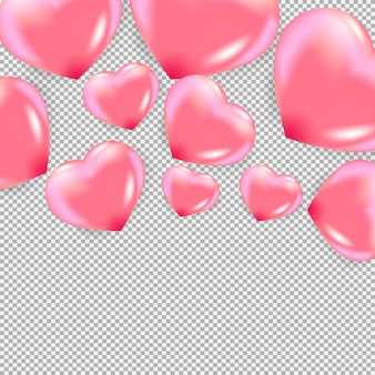 Realistic pink hearts on the transparent background Premium Vector