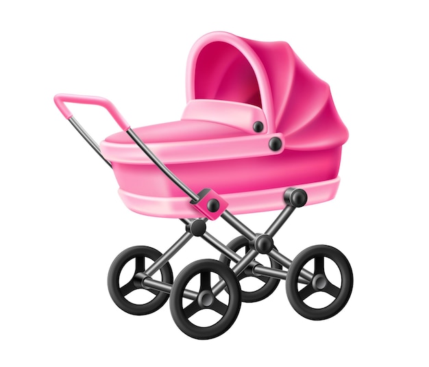 Realistic pink newborn baby carriage