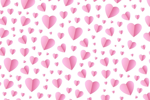 Realistic  pink origami hearts for decoration and covering on the white background.