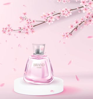 Realistic pink perfume bottle on the catwalk to advertise a perfume brand. cosmetic product with cherry blossom