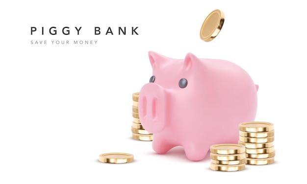 현실적인 핑크 돼지 저금통 돼지 흰색 배경에 고립. 동전, 금융 저축 및 은행 경제, 장기 예금 투자가있는 돼지 저금통. 삽화