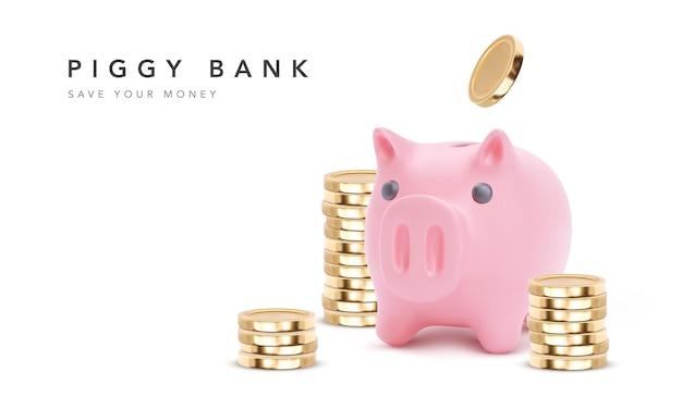 현실적인 핑크 돼지 저금통 돼지. 동전, 금융 저축 및 은행 경제, 장기 예금 투자가있는 돼지 저금통.
