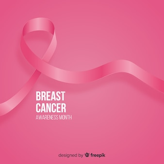 Realistic pink ribbon for breast cancer awareness event