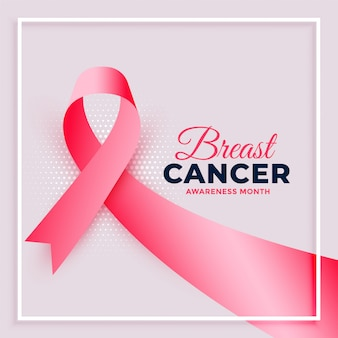 Realistic pink ribbon breast cancer awareness month poster