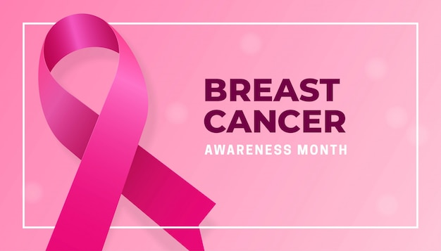Realistic pink ribbon for breast cancer awareness month