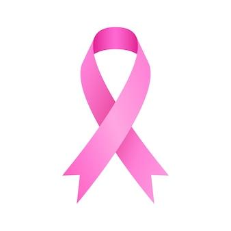 Realistic pink ribbon breast cancer awareness symbol.