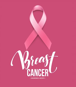 Realistic pink ribbon, breast cancer awareness symbol.