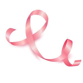 현실적인 핑크 리본 10월 유방암 인식의 달
