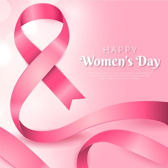 Realistic pink ribbon women's day