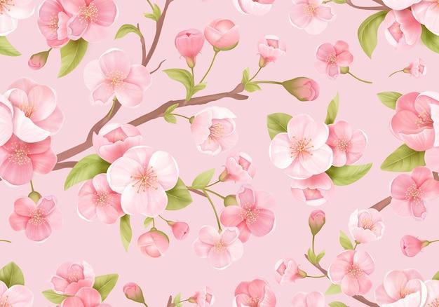 Реалистичные розовый цветок сакуры бесшовный фон. японская цветущая вишня экзотическая текстура. весенние цветы, узор из листьев для свадебного фона, текстиль, ткань