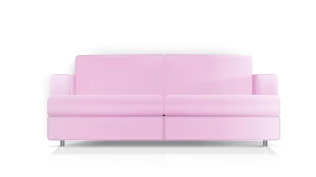 현실적인 핑크 소파. 핑크 소파 흰색 배경에 고립입니다. 인테리어 디자인 요소.