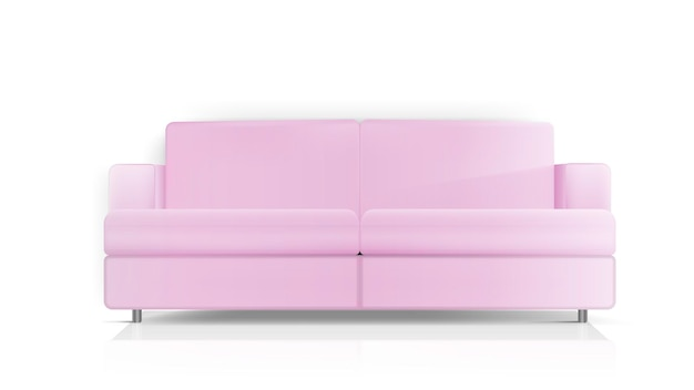 Realistic pink sofa. pink sofa isolated on a white background. interior design element.
