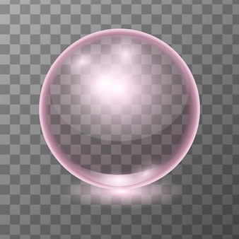 Realistic pink transparent glass ball, shine sphere or soup bubble