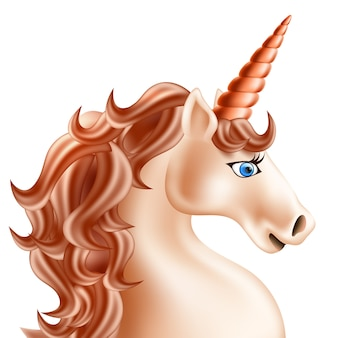 Realistic pink unicorn with golden horn