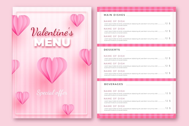 Realistic pink valentine's day menu template