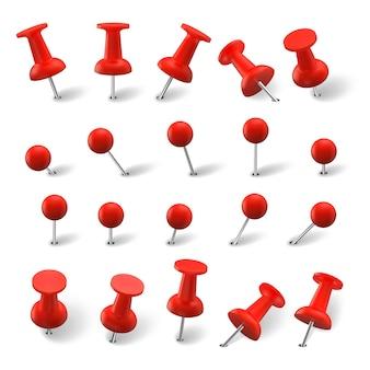 リアルなピンセット。カラフルなオフィスの赤い画鋲画鋲を描いたリアリズムスタイルのコレクション