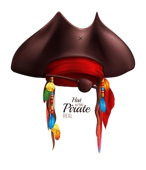 Realistic pirate hat decorated by red bandanna and indian accessories in realistic style isolated