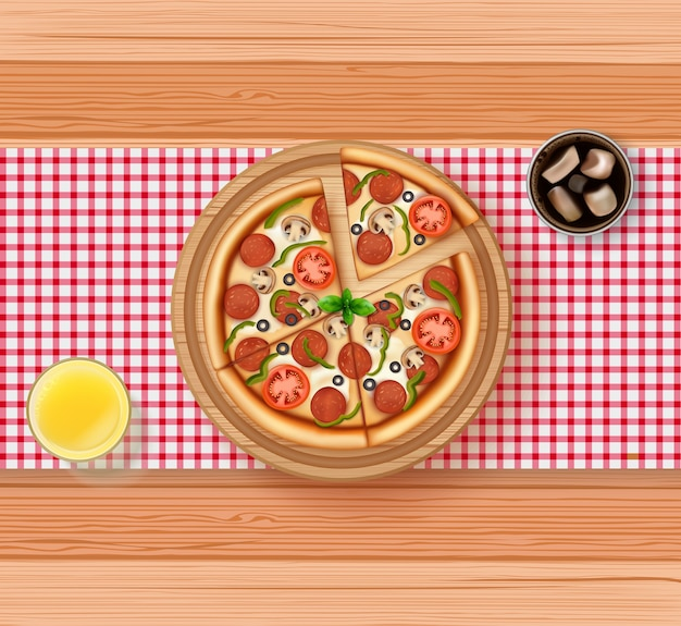 Realistic of pizza, orange juice and cola on wooden table