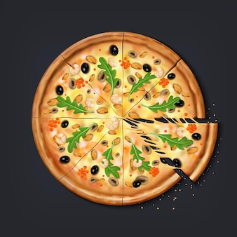 현실적인 피자 조각. 먹을 준비가 된 스트레칭 치즈가 있는 신선한 피자 부분, 모짜렐라와 토마토를 곁들인 전통 이탈리아 음식. 벡터 일러스트 레이 션 3d 상위 뷰 라운드 유럽 스낵 치즈