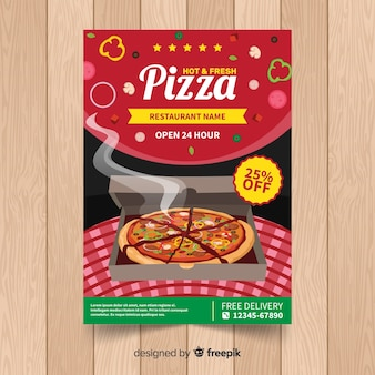 Realistic pizza restaurant flyer