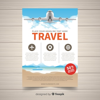 Realistic plane travel flyer template