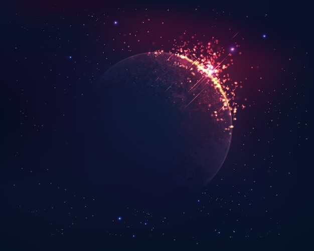 Realistic planet with fire effect and outer space background