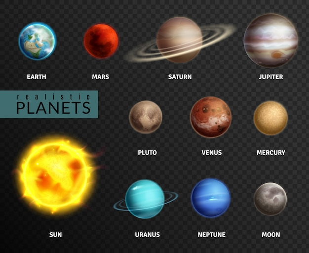 Realistic planets. solar system planet space universe galaxy sun moon saturn mercury jupiter venus comet uranus pluto, isolated