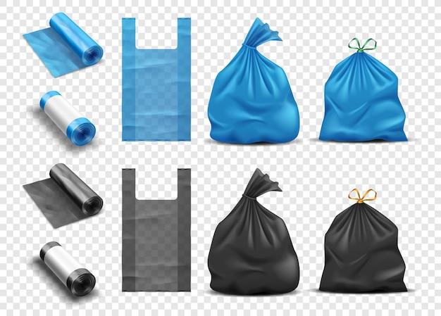 쓰레기 세트를 위한 현실적인 비닐 봉투. 손잡이가 있는 쓰레기 및 쓰레기용 패키지, 전체 쓰레기 봉투 및 패킷 롤 일회용 팩. 벡터 일러스트 레이 션
