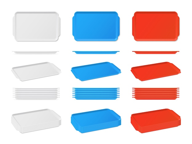 Реалистичные пластиковые пустой поднос с ручками. прямоугольные кухонные подносы