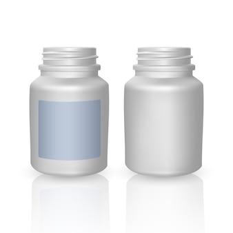 リアルなペットボトルテンプレート。空の白いボトル