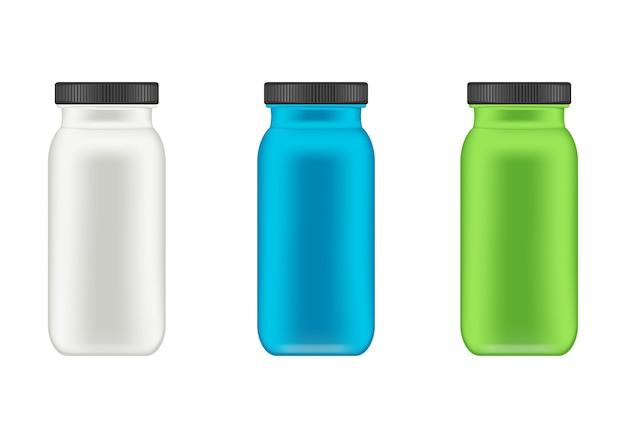 유장 단백질과 게터를위한 현실적인 플라스틱 용기. 병.