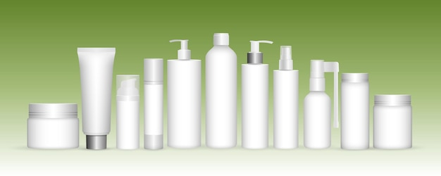 Realistic plastic and cosmetic gel shampoo capsules cream