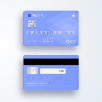 Realistic plastic credit card. bank card with chip