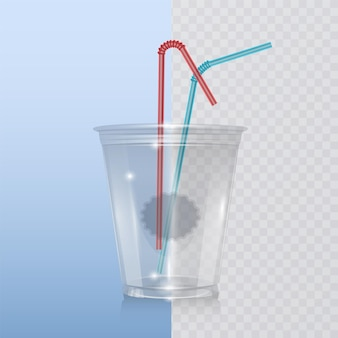 ミルクセーキ、レモネード、スムージー用のリアルなプラスチックカップ。