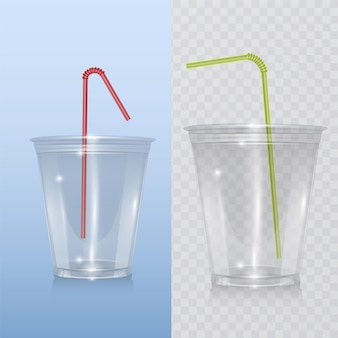 Realistic plastic cup for milkshake and lemonade and smoothie.
