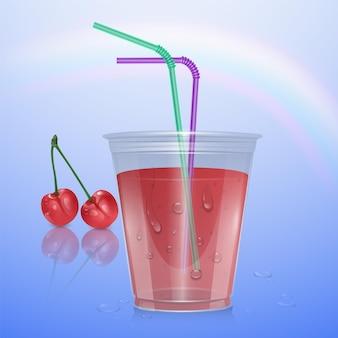 체리 주스, 일러스트와 함께 현실적인 플라스틱 컵