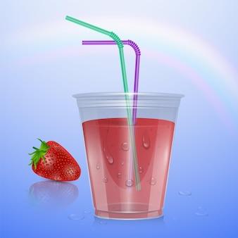 딸기 주스, 일러스트와 함께 현실적인 플라스틱 컵
