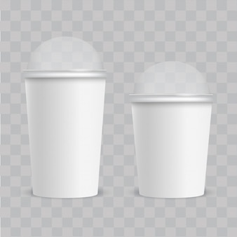 Realistic plastic cup with transparent cap