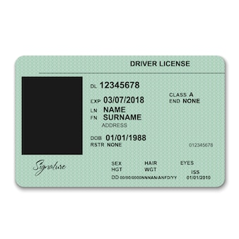 Realistic plastic driver licence front template