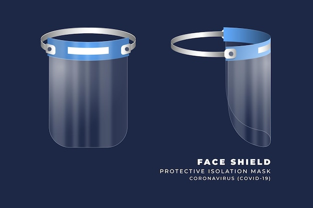 Realistic plastic face shield front and side view