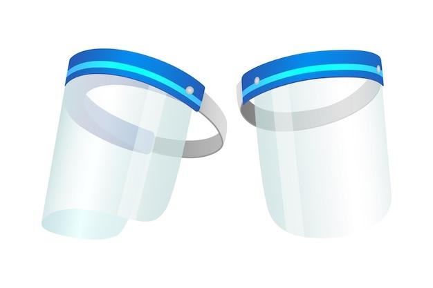 白い背景の上の現実的なプラスチック製の顔面シールド