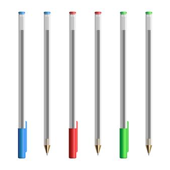 白で隔離のリアルなプラスチックペンのイラスト