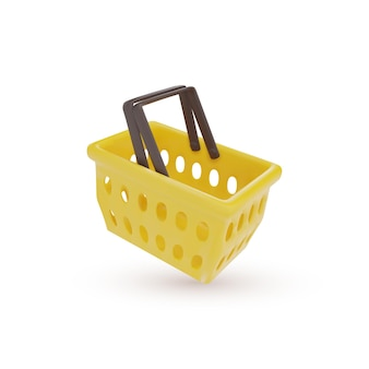 Реалистичная концепция пластиковой корзины для покупок