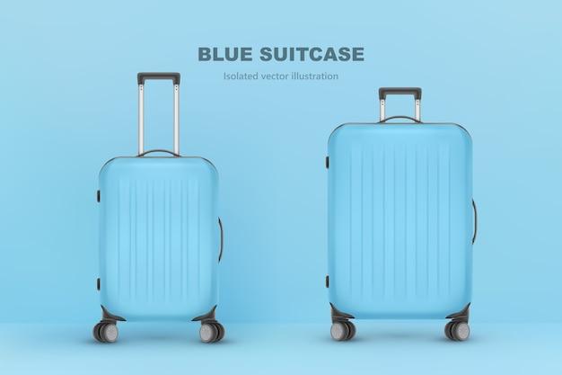 現実的なプラスチック製のスーツケース。白い背景の上の旅行バッグ。旅行バナーテンプレート。図