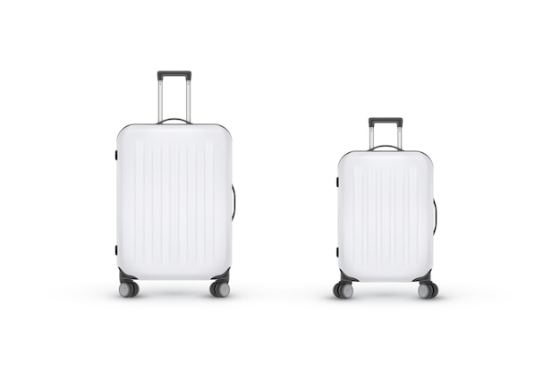 Realistic plastic suitcase. travel bag  on white background. traveling banner template.  illustration