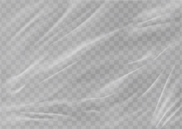 Realistic plastic wrap texture  stretched polyethylene cover wrinkled surface